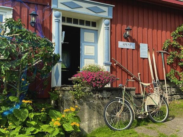Sykkel lent på en steintrapp foran inngangen til en gårdsbutikk med blomster rundt