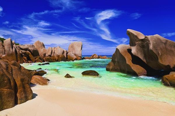 Tropisk strand på Seychellene - natur bakgrunn