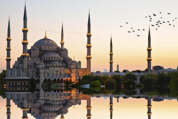 Den Blå Moskee i solnedgang