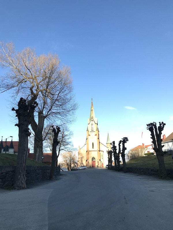 Avstandsbilde av en kirke der solen lyser på bygningen og veien frem er kantet av trær