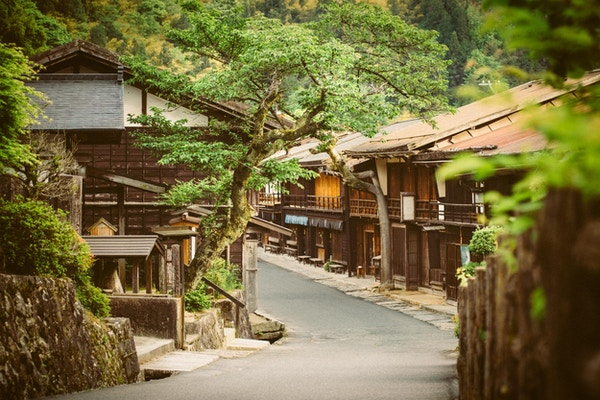 Tsumago, en tradisjonell japansk landsby i Gifu prefekturfjellene. Japan.