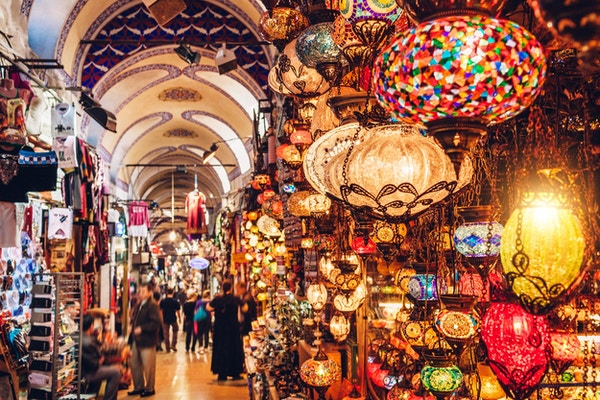 Tyrkiske lykter på Grand Bazaar i Istanbul, Tyrkia