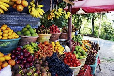 Hauger med frisk frukt: banan, eple, mandarin, mangostan, pasjonsfrukt, røde druer, mango og tomat.