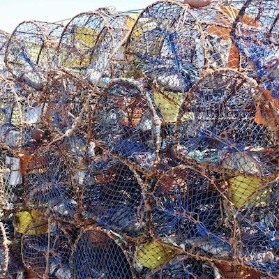 En haug med fargrike og litt rustne fisketeiner ligger stablet oppå hverandre i ei havn