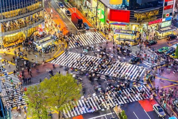 Tokyo, Japan utsikt over Shibuya Crossing, en av de travleste gangstier i verden.
