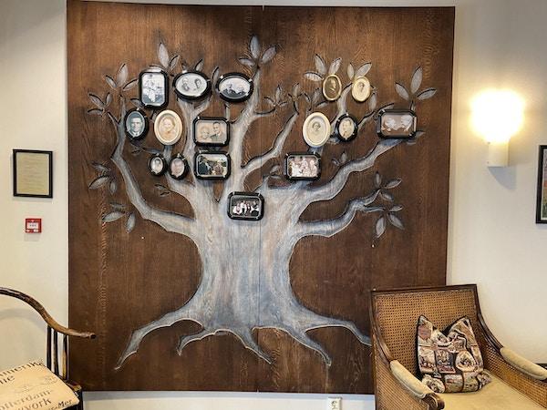 Et bilde av et tre henger på veggen og det er bilder plassert i henhold til slektstreet