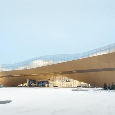 Arkitektur i form av stor bygning med tre og glass