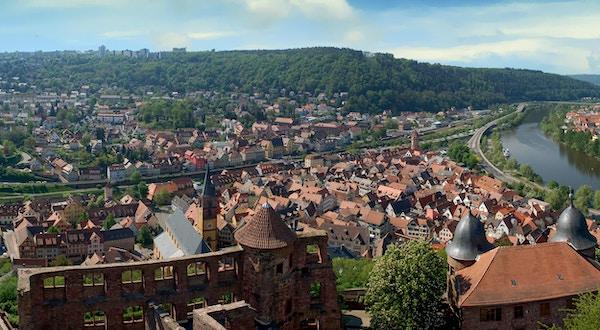 Panoramautsikt over Wertheim am Main, Tyskland