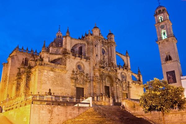 Katedral om kvelden. Jerez de la Frontera, Spania
