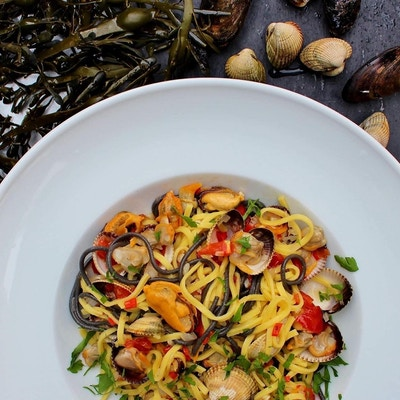 Hvit tallerken med fargerik pasta med blåskjell og muslinger