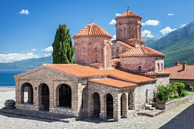 Saint Naum kloster nær Ohrid i Makedonia