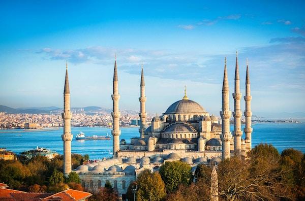 Den blå moskeen i Istanbul, Tyrkia