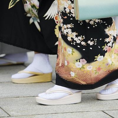 Japanske kvinner i tradisjonell kjole på Meiji-helligdommen