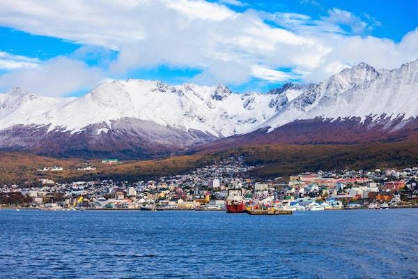Ushuaia luftfoto. Ushuaia er hovedstaden i Tierra del Fuego-provinsen i Argentina.
