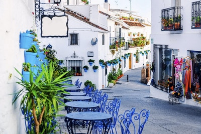 Mijas gate. Sjarmerende hvit landsby i Andalucía, Costa del Sol. Sør-Spania
