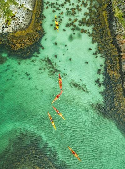 Kajakkpadlere i en fjord.